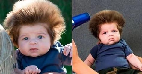 Bebé nace con un espectacular cabello abombado