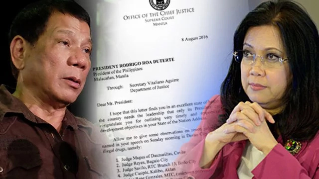 Full text of Sereno's letter to Presdient Duterte