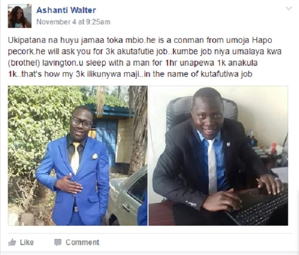 So, this man has been selling Nairobi girls to rich men in Lavington