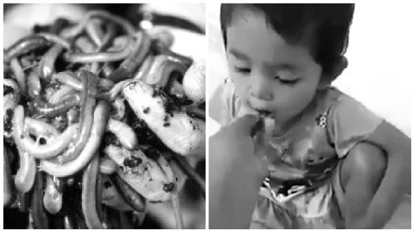 Video of mother feeding her baby live worms sparks angry debate online (photos,video)