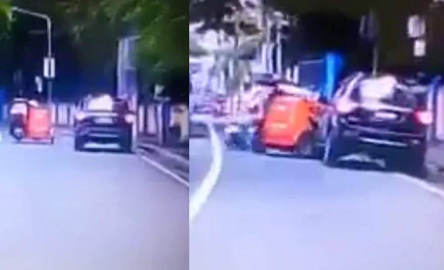 Dashcam footage shows SUV collision with a tricycle