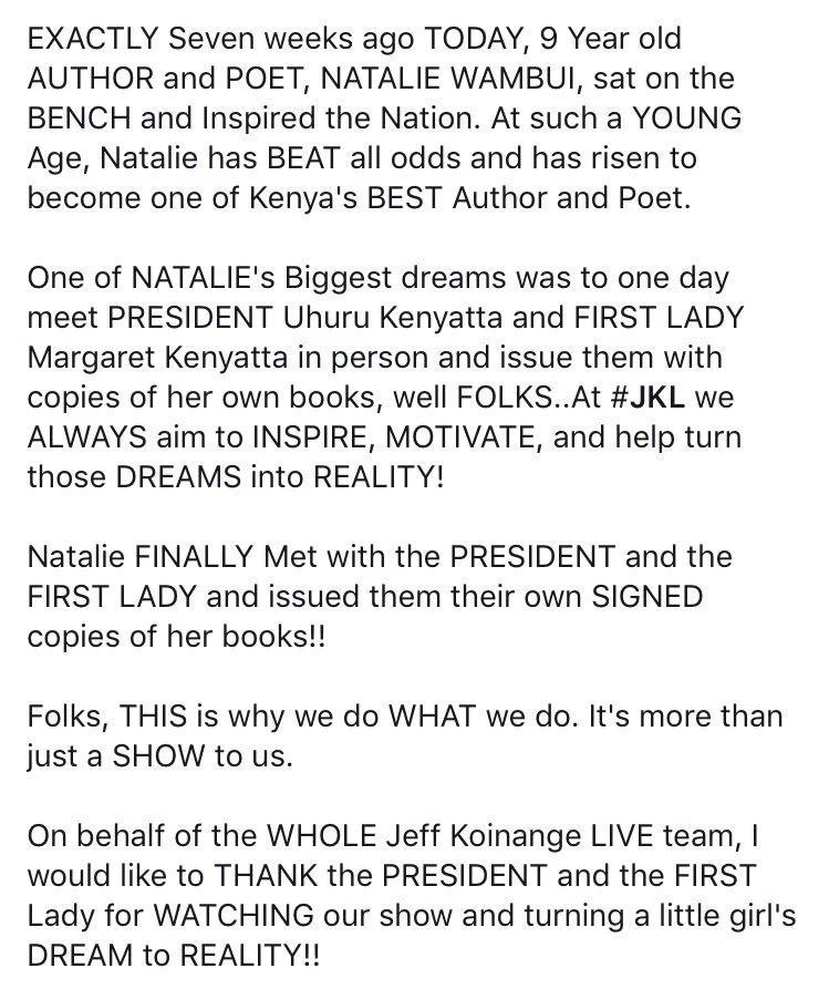 Nine year old poet gets her wish of meeting President Kenyatta