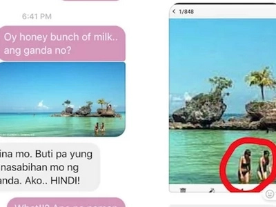 Boyfriend gets into trouble when girlfriend notices something in his picture