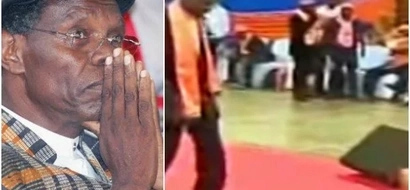 Jubilee rebel caught in an awkward situation after woman falls right in front of him during Raila's endorsement