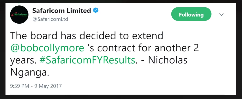 Former Safaricom boss Michael Joseph refutes claims of Bob Collymore's replacement