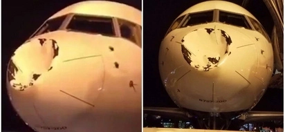 Close shave! Plane lands with huge dent on its nose after turbulence-hit rollercoaster flight