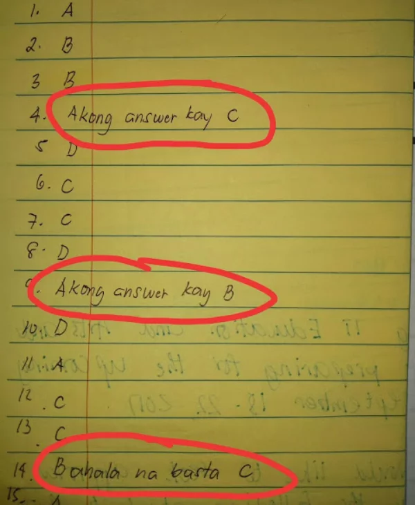 No erasure policy ba kamo? Teacher shares his student's wittiest style for no erasure policy on his exam