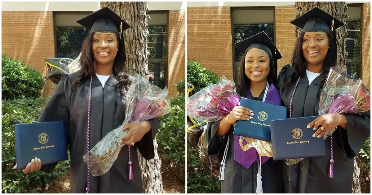 Meet 44-year-old mom who survived breast cancer twice graduates on the same day as her daughter (photos)