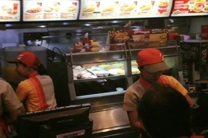 Lazy Jollibee mascot caught sleeping during working hours!