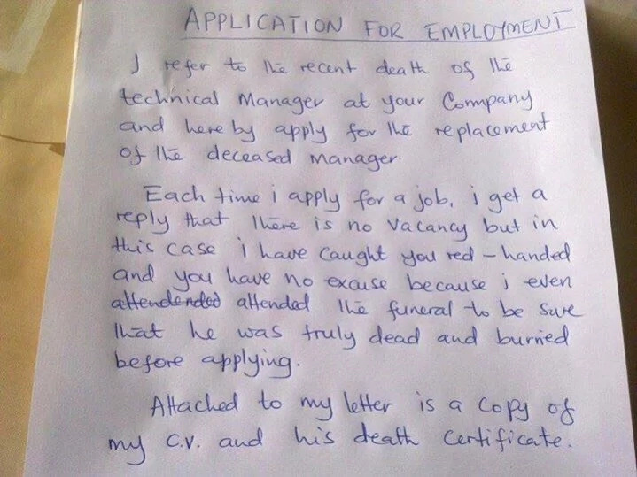 The handwritten application. Photo: SWNS