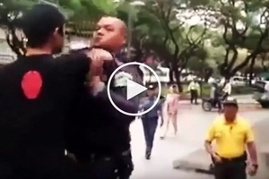 Nagka-initan na! Defiant Pinoy skateboarder fights with tough security guard in Makati