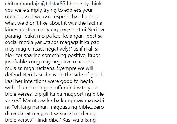 "Chito Miranda defends his wife Neri Naig on social media ""I'm very defensive when it comes to my wife."""