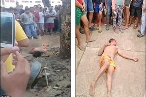 Golpearon, arrastraron y colgaron de un árbol a hombre que violó y mató a niña de 4 años de edad
