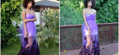 Girl, 17, who owns online store makes own BEAUTIFUL prom dress night before the dance (photos)
