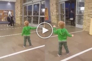 This child is sure he controls the door... Here is what he does after!