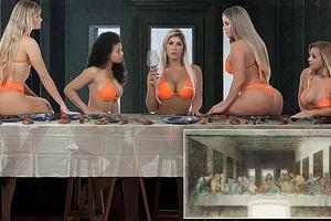 ¡Indignación! Mujeres en Brasil simularon la última cena de Jesús en pequeños bikinis