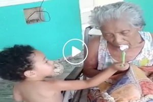 Nakakamangha! Loving toddler takes care of his disabled grandmother