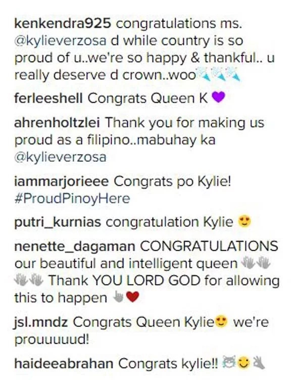 The congratulatory messages keep on flooding in for the newest Miss International. (Photo credit: Instagram)