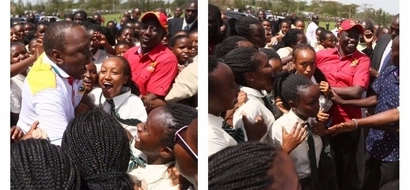 Students go crazy after seeing Uhuru during campaign tour (photos)