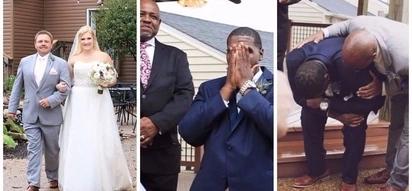 Luckiest man in the world! Groom, 27, breaks down in tears as his bride walks down aisle