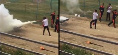 Taray! Teen boy shows how you extinguish fire in style