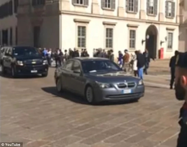 Part of the 14-car convoy used to transport Obama in Milan