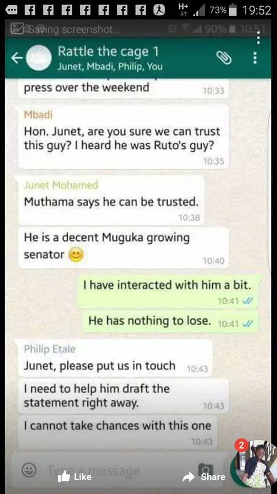 Alleged CORD Whatsapp chat plotting against Jubilee