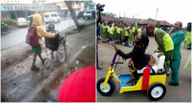 Kenyan mum seen getting wheeled to work by 10-year-old son finally gets help (photos)