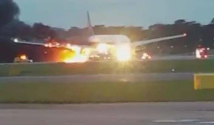 Singapore Airlines Plane Bursts into Flames After Emergency Landing