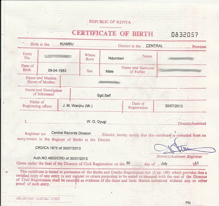 Birth Certificate Kenya: Application and Replacement of ...