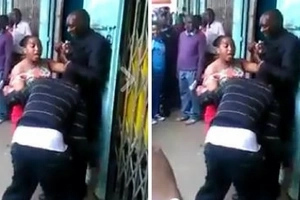 Watch this dramatic footage of an angry Nyeri woman beating up two grown men (video)