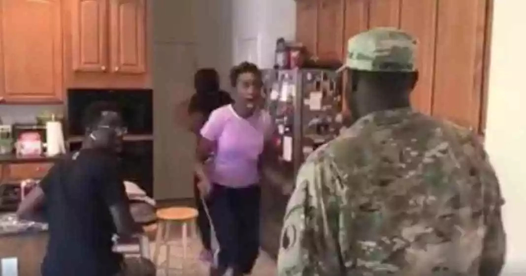 Homecoming! Returning soldier surprises family, and her mom's reaction to his return has left everyone stunned