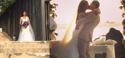Here come the newlyweds! Bangs Garcia and Filipino-Brit bf Lloydi Birchmore make their promises of forever