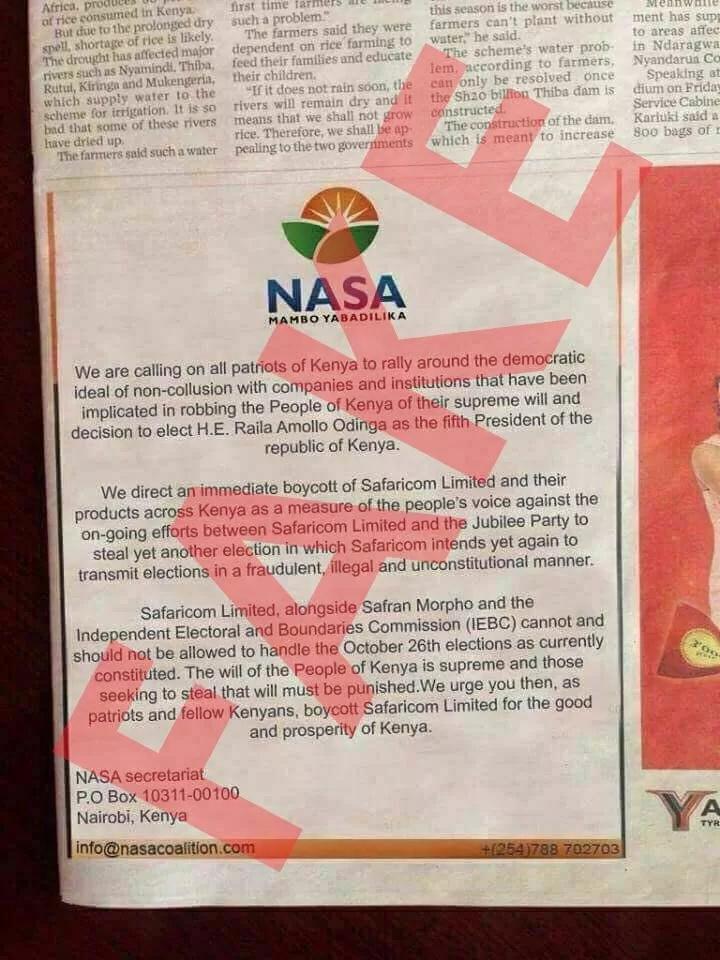Raila Odinga rubbishes alleged NASA statement calling on boycott of Safaricom products