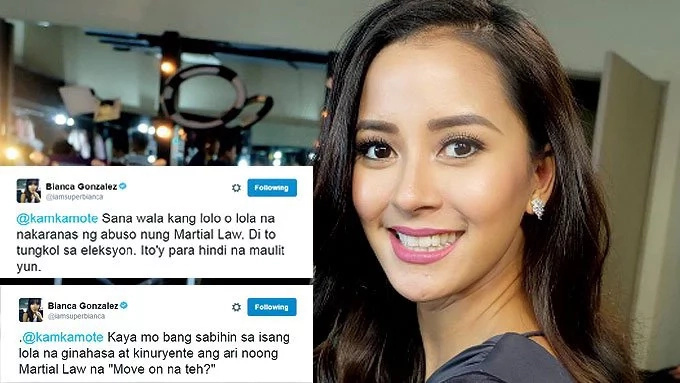 Bianca Gonzalez argued for martial law victims on Twitter
