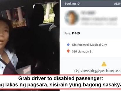 Konting habag po sa may kapansanan! Grab driver goes viral after canceling trip because disabled passenger accidentally closed the compartment hard