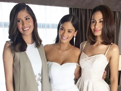 Miss Universe alumni Pia Wurtzbach, Shamcey Supsup, and Venus Raj all in one photo