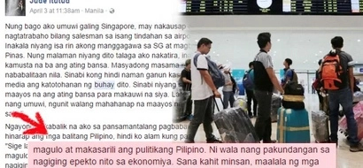Netizen posts real unpoliticized concern of OFWs who want to go home but can't due to lack of jobs