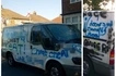 Jilted lover goes into complete rage, splatters ex-partner's white van with disparaging graffiti