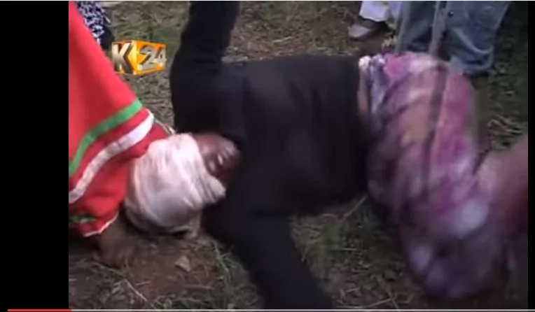 A shocking video of a prophet removing demons from two Murang'a sisters