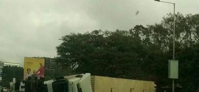 Photos: Dramatic Truck Crash On Waiyaki Way In Nairobi