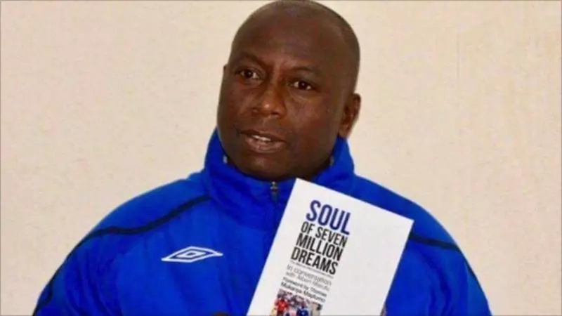 Memory Mucherahowa, who was captain of African Champions League finalists Dynamos, posing with his autobiography