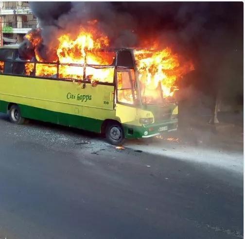 Citi Hoppa bus burst in flames in Nairobi