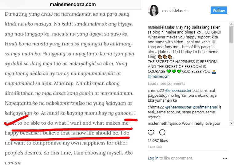 Celebrities have something to say about Maine Mendoza's open letter to her fans