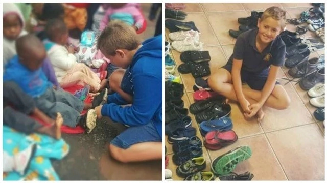 Boy, 9, collects over 1000 pairs of shoes to help homeless and shoeless children
