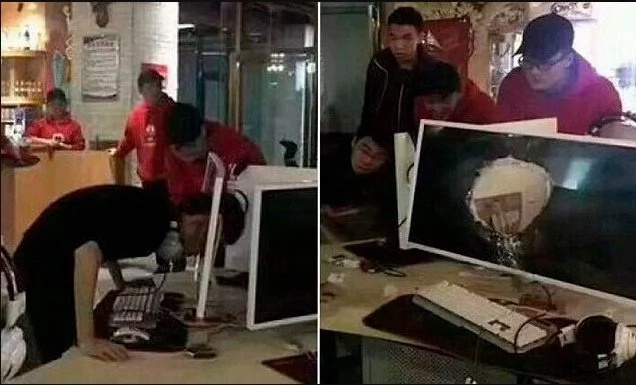 Man smashes his head through COMPUTER monitor in fit of rage (photos)