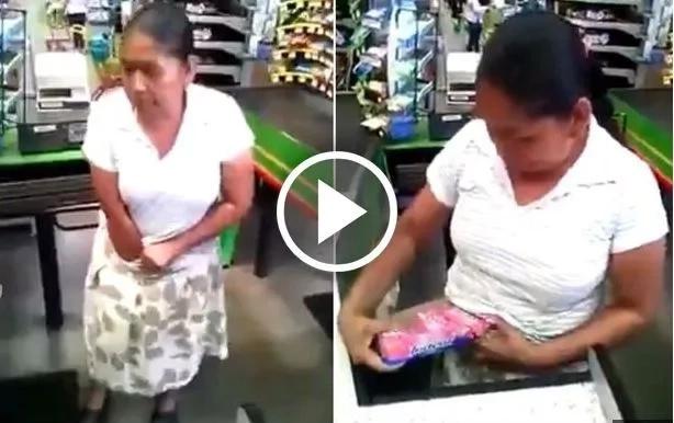 Mujer es sorprendida tras robar cajas de comida metiéndolas en su ropa interior