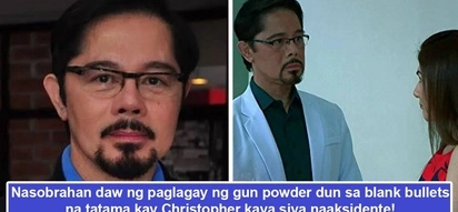 Nabaril siya sa set! Christopher de Leon suffers from freak accident as he gets hit by bullet during 'Kambal Karibal' taping