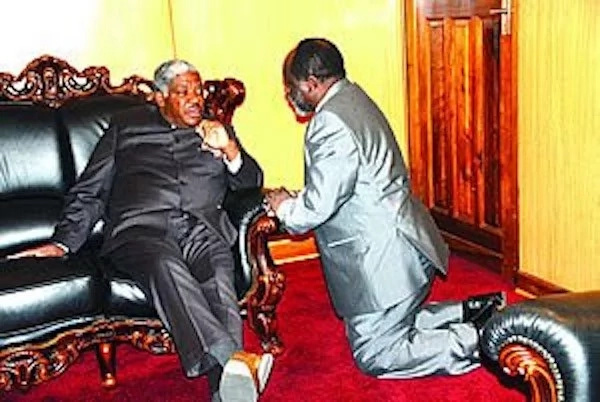 Picture of government minister KNEELING before president sparks controversy (photos)