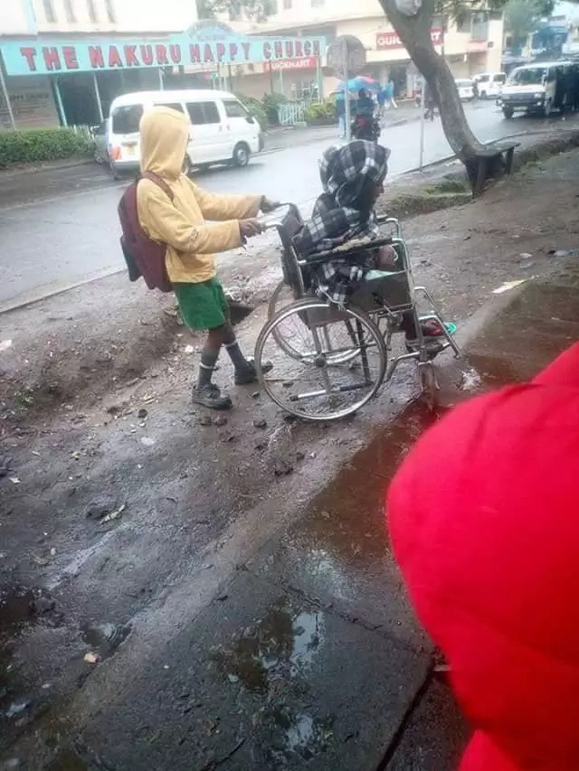 Meet the lovely Kenyan kid who wheels his disabled mom to work before going to school